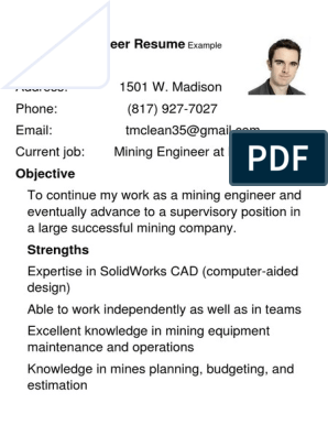 Mining Engineer Resume Example 1 Mining 3 D Computer Graphics