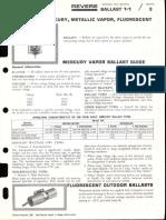 Revere Ballasts - Mercury - Metal Halide - Fluorescent Bulletin 1966