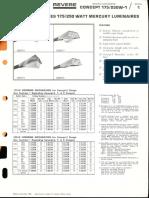Revere Concept 175w-250w Mercury Series Bulletin 1966