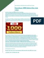 Home Kabar Tekno Cara Cepat Dapatkan 1000 Subscriber dan 4000 Jam Tayang.docx