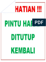 Warning Sign Pintu Harap Ditutup
