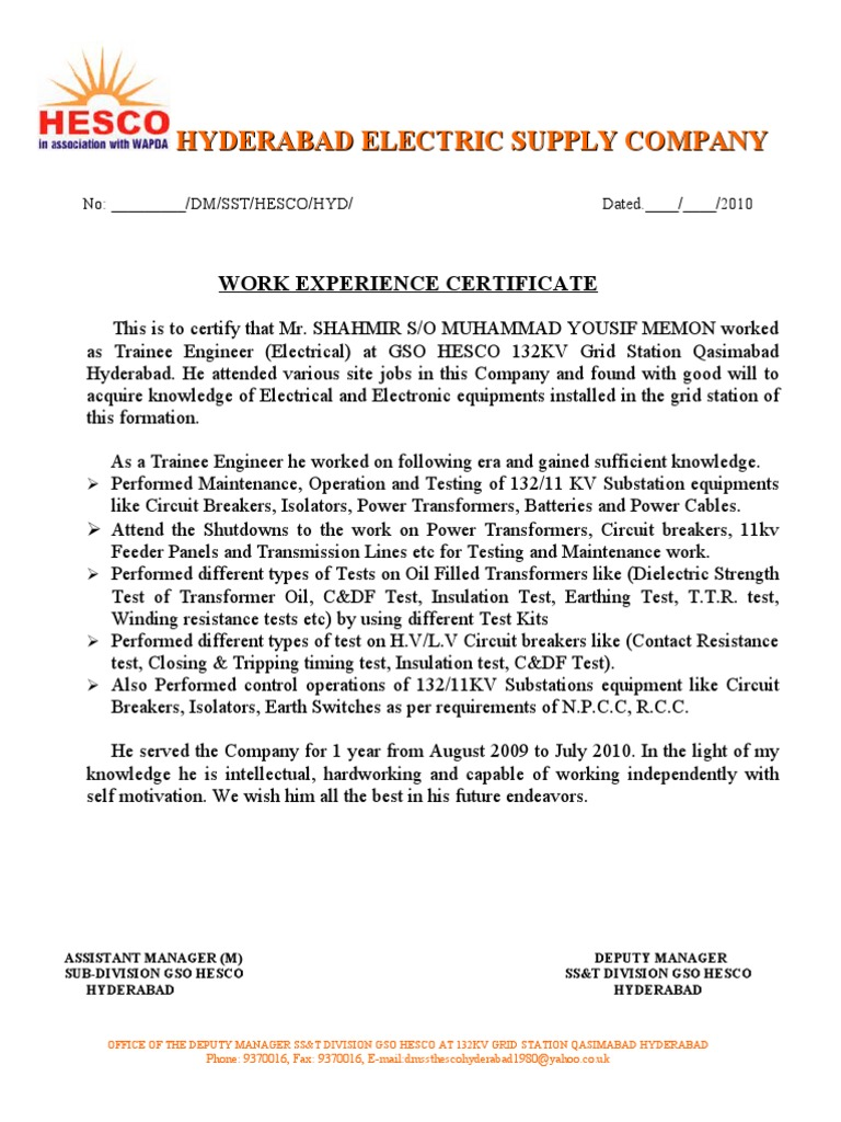 Work Experience Certificate 1 – Experience Certificate Formats