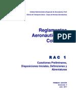 RAC 1 Reglamentos Aeronáuticos (Tercera Enmienda 2017)