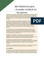 Plan Del Gobierno Para Reducir El Poder Sindical en Las Pymes