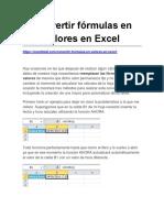 Convertir Fórmulas en Valores en Excel