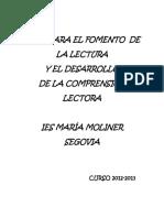 Plan Para El Fomento de La Lectura 2012-2013