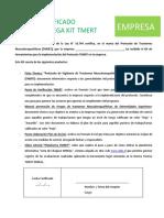 Carta TMERT Entrega Kit