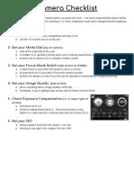 camera checklist