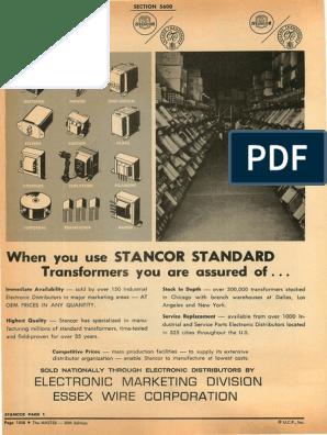 STANCOR CONTROL TRANSFORMER NOS P-6466