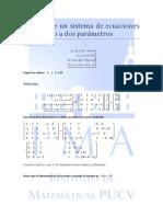 Análisis de Un Sistema de Ecuaciones de Acuerdo a Dos Parámetros