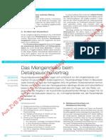 Das Mengenrisiko Beim Detailpauschalvertrag (ZVB 2013-148)