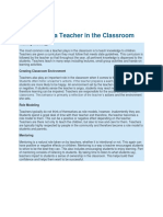Function of a Teacher in the Classroom