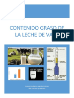 Determinación del % de grasa en la leche de vaca