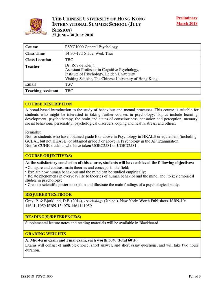 PSYC1000 Syllabus | Mind | Psychology & Cognitive Science