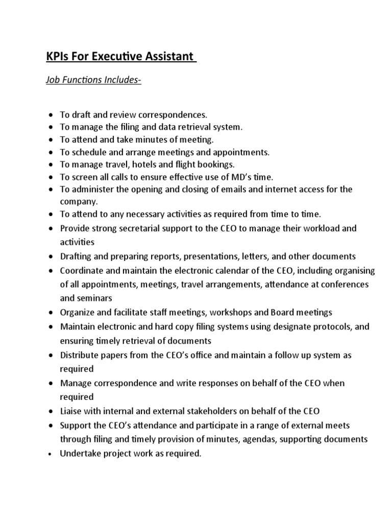 Kpis For Executive Assistant