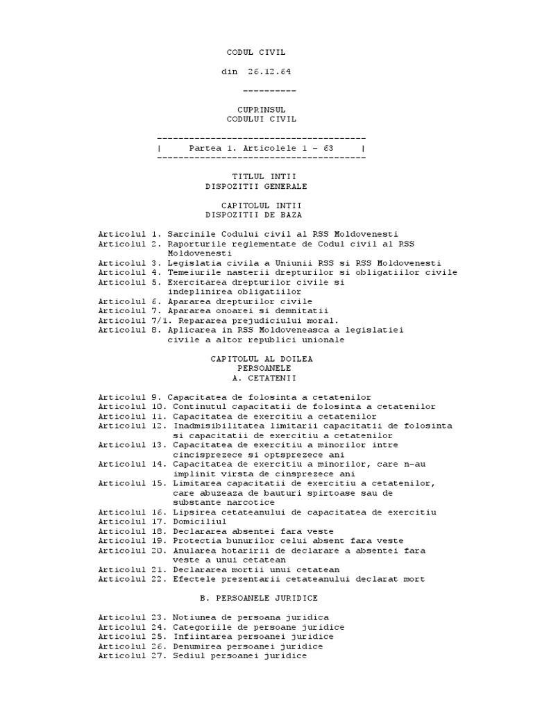 opțiuni din codul civil
