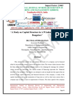 A Study on Capital Structure in a.W.industries Pvt.ltd at Bangalore