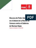 Discurso de Pedro Sánchez en el debate de la moción de censura