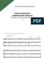 Basso Continuo e Composizione Barocca Dispensa n 1