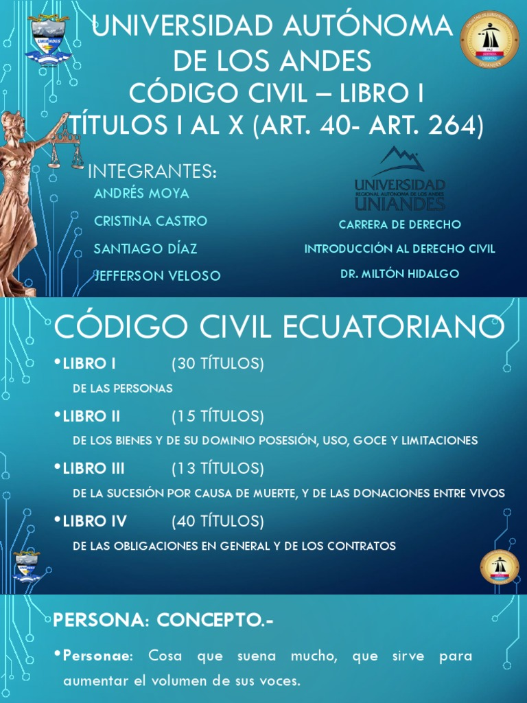 Codigo Civil - Libro I - Titulo I Al X  Art  40