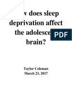 how does sleep deprivation affect the adolescent brain final draft
