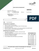L a Level Biology 2805 02 Jan 2005 Question Paper