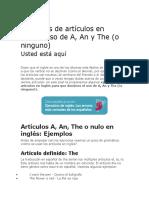 Ejercicios de Artículos en Inglés Elda