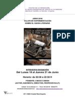 Teatro de La Sensacion Taller de Experimentación Sobre El Guion Literario-junio 018