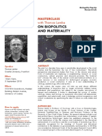 Masterclass with Thomas Lemke on biopolitics and materiality