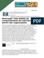 Motivação Uma Análise Do Comportamento Do Indivíduo Dentro Das Organizações - Artigos - Tecnologia - Administradores