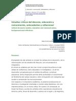 Estudios críticos del discurso, educación y comunicación, antecedentes y reflexiones