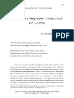 o Simile e a Linguagem Da Natureza Em Goethe Erica Goncalves de Castro