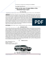 Technical expertise on the cause of engine failure of the Mitsubishi Pajero Sport
