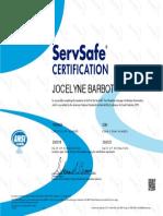 servsafe certificate  2018