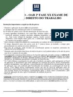2o Simulado OAB de Bolso D. Trabalho - 2aFase XX Exame de Ordem