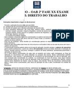 4o Simulado OAB de Bolso D. Trabalho - 2aFase XX Exame de Ordem