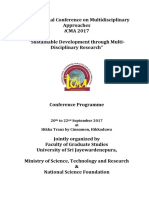 International Conference on Multidisciplinary Approaches 2017 Program