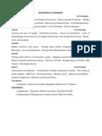 Managerial Economics - Syllabus