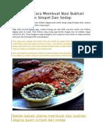 Resep Dan Cara Membuat Nasi Bukhari Daging Ayam Simpel Dan Sedap