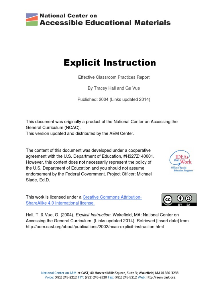 Ncac Explicit Instruction 2014 10 Learning Curriculum
