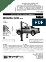 Bendpak Lift XPR-10-10A-168-Manual