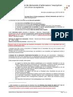 Formulaire de Demande Admission HUE 18 19