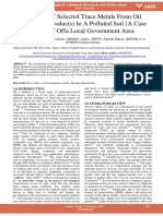 Analysis of Selected Trace Metals From Oil Petroleum Products in a Polluted Soil a Case Study of Offa Local Government Area