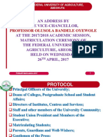 University Matriculation Lecture