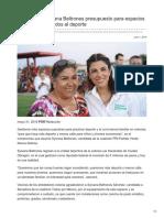 01/06/2018 Gestionaría Sylvana Beltrones presupuesto para espacios populares enfocados al deporte