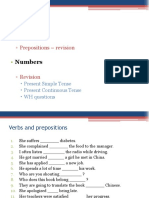 Prepositions and Numbers Revision