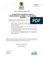 Comunicado de Prensa No 010  IDIPRON - 1 DE JUNIO DE 2018