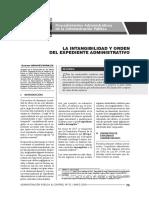 La Intangibilidad Del Expediente Administrativo. GCSM