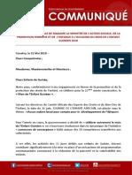 Declaration de Veille de Madame La Ministre de Laction Sociale de La Promotion Feminine Et de Lenfance a Loccasion Du Mois de Lenfant Guineen 2018