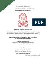 Monografia Socio-historica Del Municipio de Tejutepeque Del Departamento de Cabañas